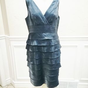 Adrianna pappell blue/gray shimmer dress